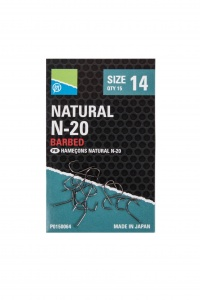 Крючки Preston Natural N-20 Barbed 15шт.